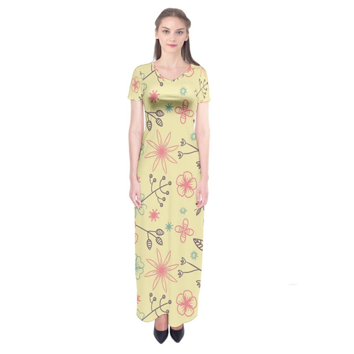 Seamless Spring Flowers Patterns Short Sleeve Maxi Dress