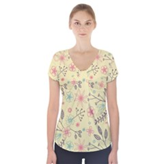 Seamless Spring Flowers Patterns Short Sleeve Front Detail Top
