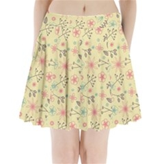 Seamless Spring Flowers Patterns Pleated Mini Skirt