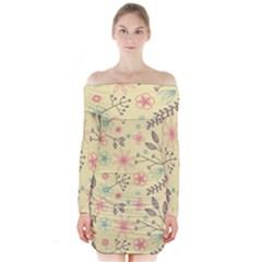 Seamless Spring Flowers Patterns Long Sleeve Off Shoulder Dress