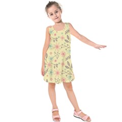 Seamless Spring Flowers Patterns Kids  Sleeveless Dress
