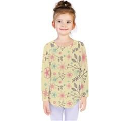 Seamless Spring Flowers Patterns Kids  Long Sleeve Tee