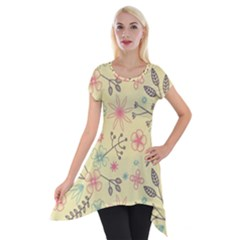 Seamless Spring Flowers Patterns Short Sleeve Side Drop Tunic