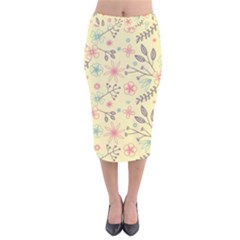 Seamless Spring Flowers Patterns Velvet Midi Pencil Skirt