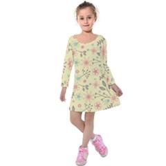 Seamless Spring Flowers Patterns Kids  Long Sleeve Velvet Dress