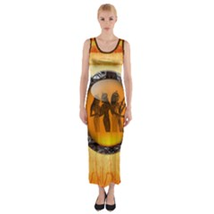 Maps Egypt Fitted Maxi Dress