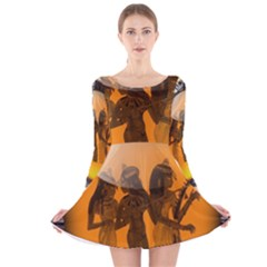 Maps Egypt Long Sleeve Velvet Skater Dress
