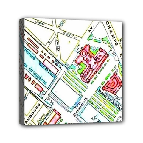 Paris Map Mini Canvas 6  X 6