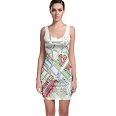 Paris Map Sleeveless Bodycon Dress