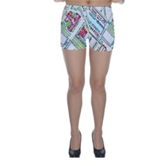 Paris Map Skinny Shorts