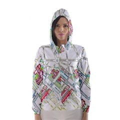 Paris Map Hooded Wind Breaker (Women)