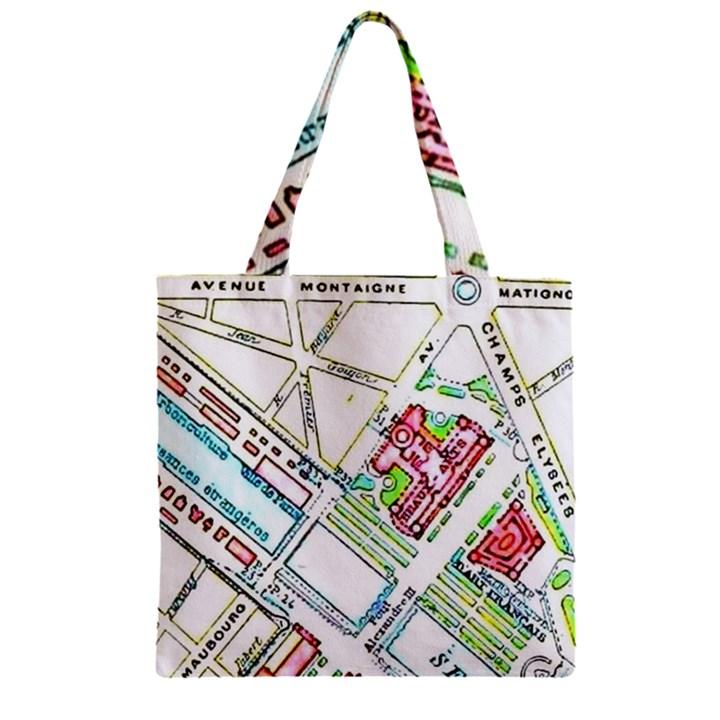 Paris Map Zipper Grocery Tote Bag