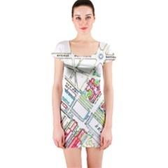 Paris Map Short Sleeve Bodycon Dress