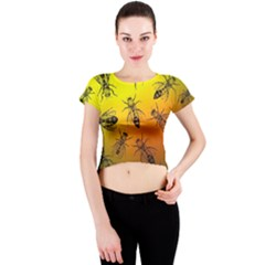 Insect Pattern Crew Neck Crop Top
