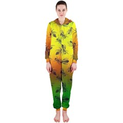 Insect Pattern Hooded Jumpsuit (Ladies)
