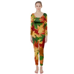 Autumn Leaves Long Sleeve Catsuit