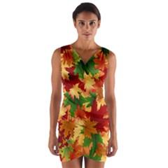 Autumn Leaves Wrap Front Bodycon Dress