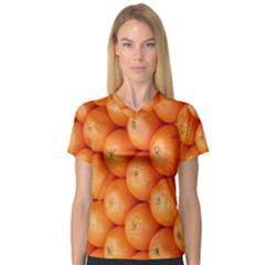 Orange Fruit Women s V-Neck Sport Mesh Tee