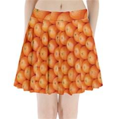Orange Fruit Pleated Mini Skirt