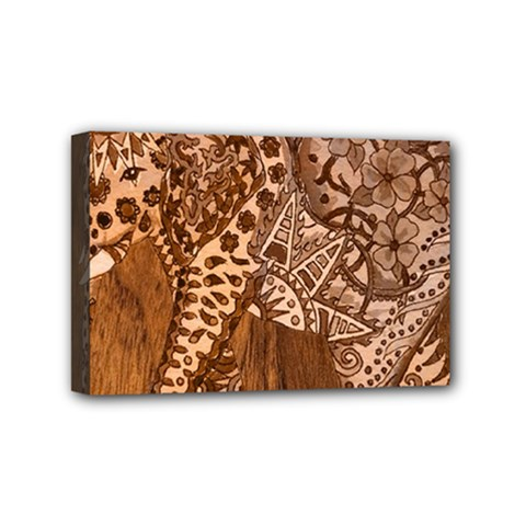 Elephant Aztec Wood Tekture Mini Canvas 6  X 4