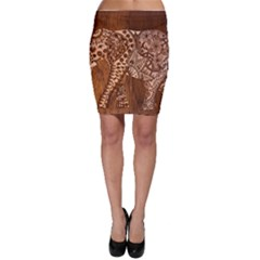 Elephant Aztec Wood Tekture Bodycon Skirt