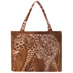 Elephant Aztec Wood Tekture Mini Tote Bag