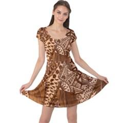 Elephant Aztec Wood Tekture Cap Sleeve Dresses