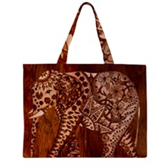 Elephant Aztec Wood Tekture Zipper Mini Tote Bag