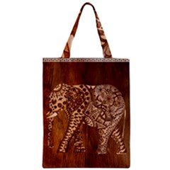 Elephant Aztec Wood Tekture Zipper Classic Tote Bag