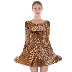 Elephant Aztec Wood Tekture Long Sleeve Skater Dress