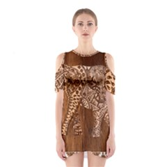 Elephant Aztec Wood Tekture Shoulder Cutout One Piece