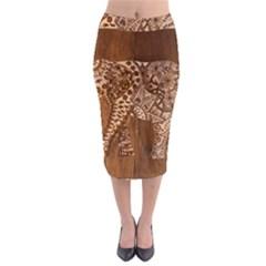 Elephant Aztec Wood Tekture Midi Pencil Skirt