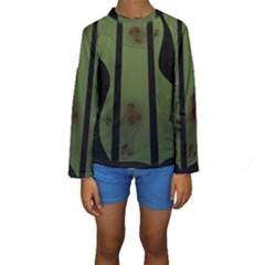 Fractal Prison Kids  Long Sleeve Swimwear