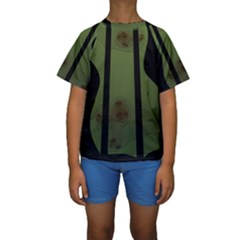Fractal Prison Kids  Short Sleeve Swimwear
