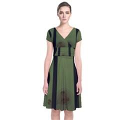 Fractal Prison Short Sleeve Front Wrap Dress