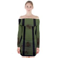 Fractal Prison Long Sleeve Off Shoulder Dress