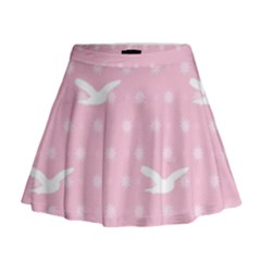 Wallpaper Same Palette Pink Star Bird Animals Mini Flare Skirt