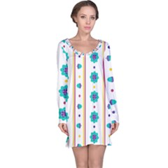 Beans Flower Floral Blue Long Sleeve Nightdress