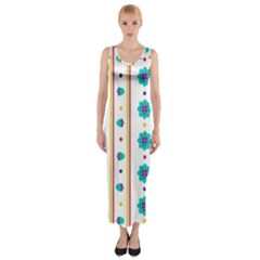 Beans Flower Floral Blue Fitted Maxi Dress