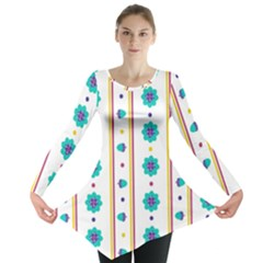 Beans Flower Floral Blue Long Sleeve Tunic
