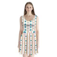 Beans Flower Floral Blue Split Back Mini Dress