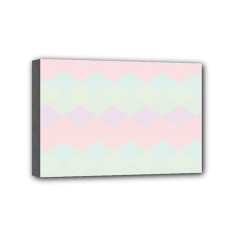 Argyle Triangle Plaid Blue Pink Red Blue Orange Mini Canvas 6  x 4