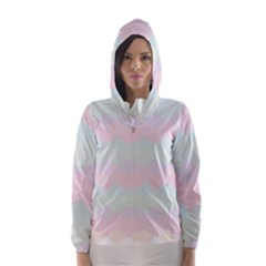Argyle Triangle Plaid Blue Pink Red Blue Orange Hooded Wind Breaker (Women)