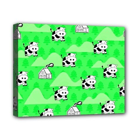Animals Cow Home Sweet Tree Green Canvas 10  x 8