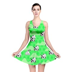 Animals Cow Home Sweet Tree Green Reversible Skater Dress