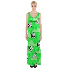 Animals Cow Home Sweet Tree Green Maxi Thigh Split Dress