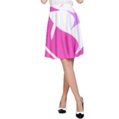 Bird Feathers Star Pink A-Line Skirt