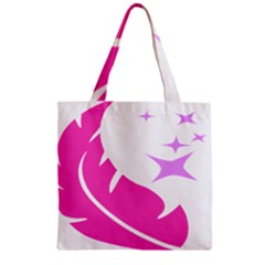 Bird Feathers Star Pink Zipper Grocery Tote Bag