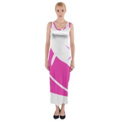 Bird Feathers Star Pink Fitted Maxi Dress