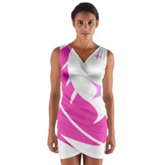 Bird Feathers Star Pink Wrap Front Bodycon Dress